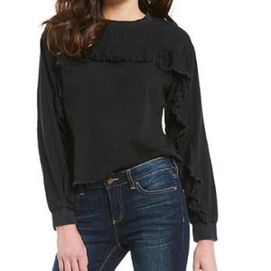 Vince Camuto Washed Black Ruffle Raw Hem Top